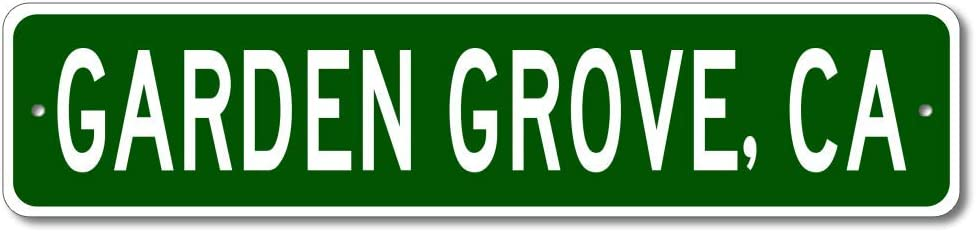 Garden Grove, California - USA City and State Street Sign - Personalized Metal Street Sign, Man Cave Destination Sign, Idea, Pub Bar Wall Decor, Made in USA - 4x18 inches