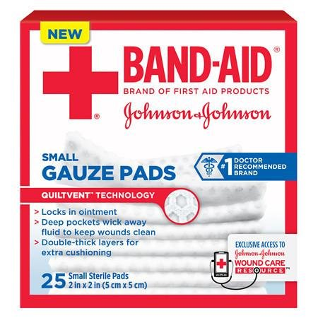 Band-Aid First Aid Gauze Pads Small (2 Inch x 2 Inch) - 3PC