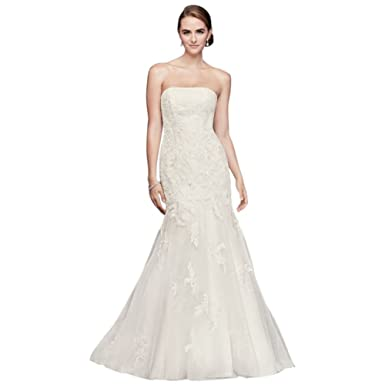 David\'s Bridal Beaded Lace Petite Wedding Dress with Tulle Skirt ...