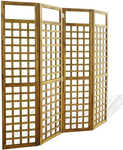 SOULONG Biombo Separador de 4 Paneles, Decoración Elegante, Separador de Ambientes Plegable, Divisor de Habitaciones,Biombo/Enrejado de 4 Paneles Madera Maciza de Acacia 160x170cm: Amazon.es: Hogar