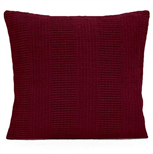 Pillow Throw Ultimate - Whisper Organics 100% Organic Cotton Throw Pillow Cover - GOTS Certified (18x18, Burgundy)