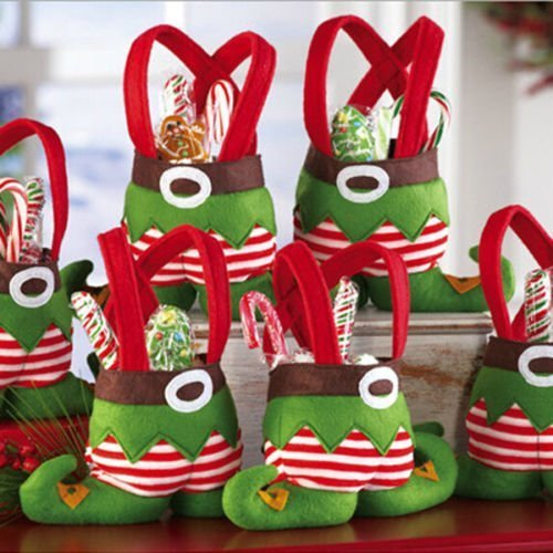 Dealzip Inc Christmas Elf Spirit Boots Shoes Candy Cookie Gift Bag Sack Stocking Filler Xmas Party Decoration Sack-Pack of (Boot Christmas Stocking)