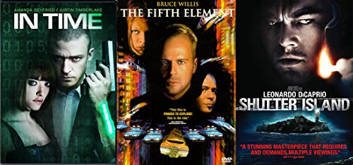Shutter Island + 5th element & In Time DVD - Special movie 3 Pack Sci-Fi Set
