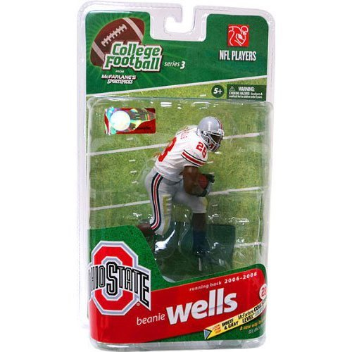 McFarlane Sportspicks: NCAA Football Series 3 Beanie Wells - Ohio State - Silver Level Variant White Jersey Action Figur (College Series Football)