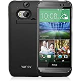 RUNSY HTC ONE M7 Battery Case, 3200mAh Rechargeable Extended Battery Charging Case for HTC ONE M7, External Battery Charger Case, Backup Power Bank Case with Kickstand (Black)
