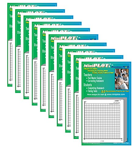 MiniPLOT Graph Paper Pads: 10 pads of 3x3 inch adhesive backed XY axis coordinate grid paper. 50 sheets per pad. Grid = 20 x 20 squares. Use for homework, taking notes in class, tests & more by MiniPLOTs