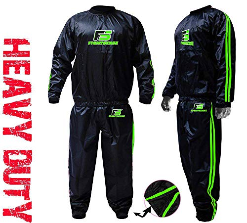 FIGHTSENSE MMA Sauna Sweat Suit Non Rip Track Weight Loss Slimming Fitness Gym Exercise Training (Green, Medium)