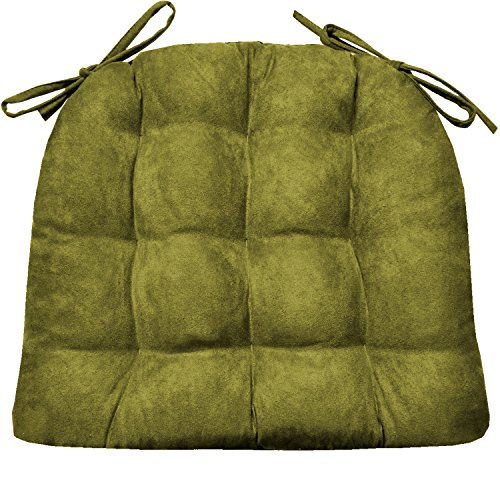 Barnett Products Dining Chair Pad with Ties - Microsuede Laurel Green Micro Fiber Ultra Suede - Size Standard - Reversible, Latex Foam Fill, Machine Washable (Ultra Sage Suede)