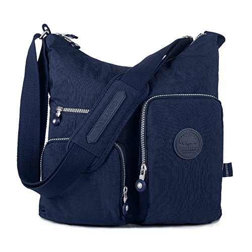 Oakarbo Nylon Multi-Pocket Crossbody Bag (1203 Navy blue/Medium) by Oakarbo