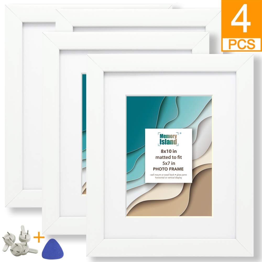 Memory Island, 8x10 Picture Frames with 5x7 Mat, Display 5x7 Photos with Mat or 8x10 Without Matte. Set of 4 Pack for Wall or Tabletop, White Frames for Home Decor or Gift.