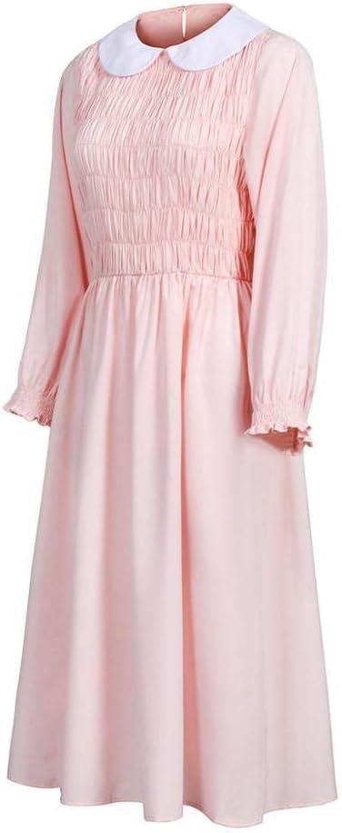 Elevens Cosplay Pink Dress For Stranger Things Doll Collar Fiesta de Navidad Rebordear Vestidos Mujeres Chica Halloween Cosplay Disfraz