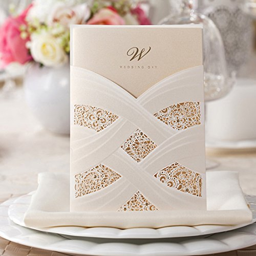 Wishmade Ivory Laser Cut Wedding Invitations Cards kits With Lace Sleeve Flower Pocket Design Cardstock 50 Pieces for Bridal Shower (pack of 50pcs) (Flower Invitations Design)