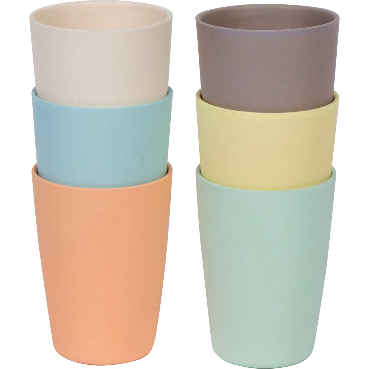 Miracle Bean X Kids Bamboo Fibre Drinking Cups, (Set of 6) for Milk, Juice, Water, Non Toxic, Biodegradable, Eco Friendly 8oz by Miracle Bean