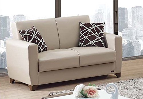 Empire Furniture USA Yonkers 2016 Collection Modern Convertible Bonded Leather Loveseat with Easy Access Storage Space, Includes 2 Pillows, Black