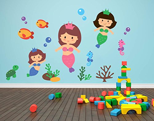 (Underwater Set - Peel and Stick - Mermaids Fish Bubbles - Wall Decal - 36