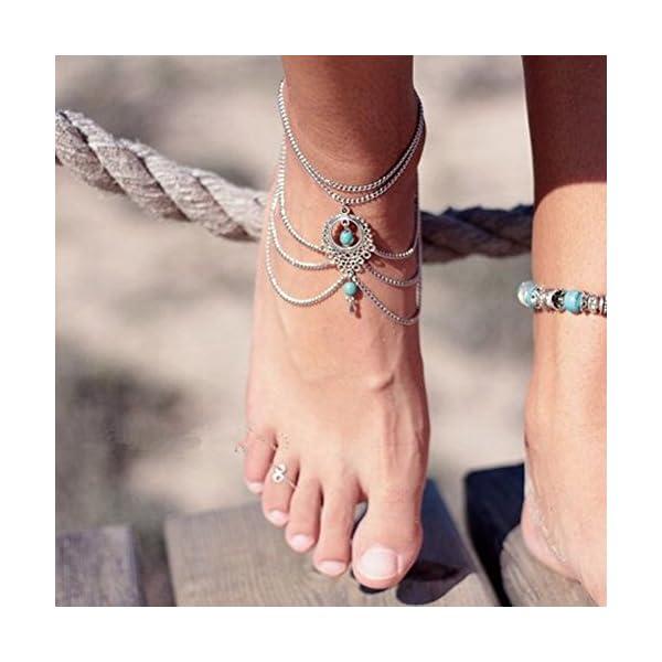 WeiMay 1 X Elegante cavigliera a più strati caviglie in nappa catena donne braccialetto alla caviglia sandalo a piedi… 4 spesavip