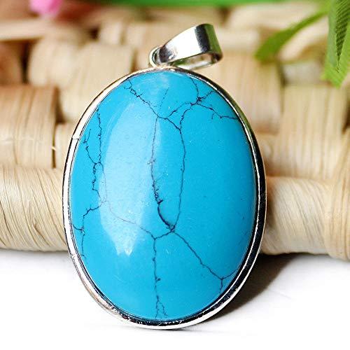 (Chockdeemeechai Handmade Jewelry Gift Blue Turquoise Gemstone Solid Silver Necklace Pendants)