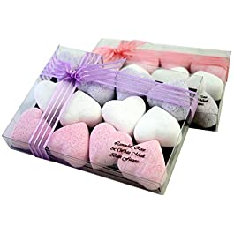 Lavender Rose White Musk Luxury 12 Piece Heart Shaped Bath Fizzers Bombs Gift Set Present Hand Made in UK