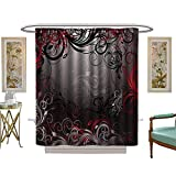 Custom Made Shower Curtains luvoluxhome Shower Curtain Collection by Soft Red and Black Mystic Magical Forest Inspired FloralSwirls Leaves Charcoal Grey Light Grey W69 x L75 Custom Made Shower Curtain