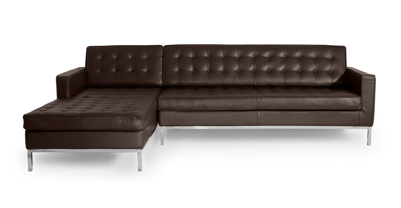 Kardiel Florence Knoll Style Sofa Sectional Left, Choco Brown 100 Full Premium Leather