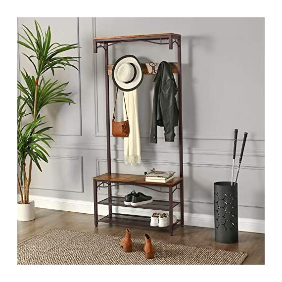 VASAGLE Industrial Coat Rack, 3-in-1 Hall Tree, Entryway Shoe Bench Accent Furniture Metal Frame Large Size UHSR45AX, Rustic Brown (Renewed) - WELCOMES YOU HOME: Eliminate the mess in your hallway with this smart coat shoe rack; perfect balance of clean lines, modern elegance and effortlessly rustic appeal EVERYTHING YOU NEED: After coming back home at the end of the day, just hang your coat, hat and scarves on the top 5 dual hooks, sit on the bench to remove your shoes and put them on the 2 metal mesh storage shelves STABLE AND SAFE: With 4 adjustable feet, the coat rack can stand perfectly stable on carpets or uneven floors; 2 anti-toppling straps are included to ensure safe use - hall-trees, entryway-furniture-decor, entryway-laundry-room - 51N1Kl9YQVL. SS570  -