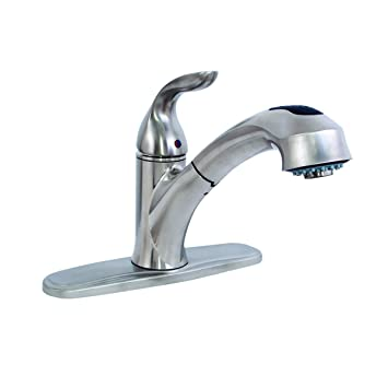Ez Flo 10383 Single Handle Pull Out Spout Kitchen Faucet With 3 Hole