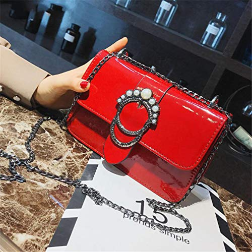 Brillante Bolsos De Red Black Pu Retro Cuero La Mujeres Las wIBqprI8z