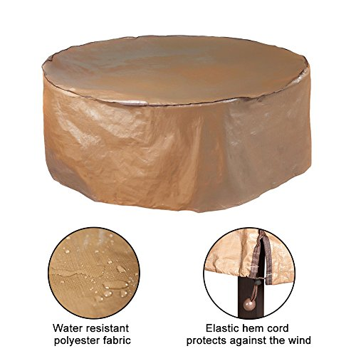 Abba Patio Outdoor Round Table and Chair Set Cover Porch Furniture Cover Waterproof, Beige, 60'' Dia. (Outdoor Patio Furniture Round)