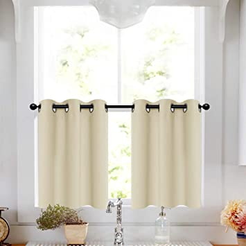 Beige Tier Curtains 24 inches Bathroom Half Window Curtains Room Darkening  Small Curtains Kitchen Tiers Grommet Cafe Curtains, 2 Panels