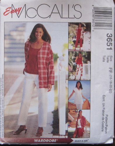 MCCALLS PATTERN 3651 MISSES'/MISS PETITE UNLINED JACKET AND VEST, TOP, PANTS, CAPRI PANTS AND SHORTSSIZE FF 16-22 by McCall's ()