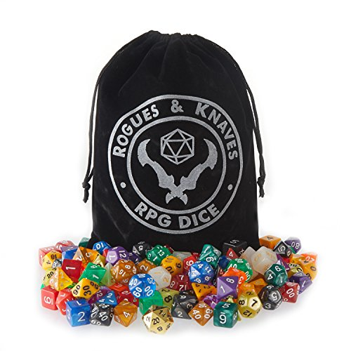 126 Polyhedral Dice (18 complete sets), Velvet Dice Bag, Plus (1) Bonus Metal D20 Dice; for Dungeons & Dragons Dice Games, Pathfinder, Magic The Gathering (MTG), Math Games and More