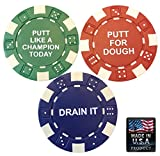 3 PGA Approved Golf Ball Markers - Professional Casino Poker Chip Markers with Inspirational Sayings - Blue Green & Red - Real 11.5 Gram Clay Composite Ball Markers Easy to See & Stays in Place