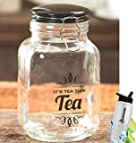 Gift Included- Vintage Kitchen Tea Clear Glass Storage Container Jar Canister With Lid + FREE Bonus Water Bottle by Home Cricket Homecricket