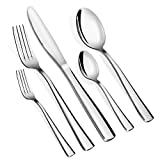 Teivio Flat 20-piece Stainless-steel Cutlery Set Flatware Set, Service for 4