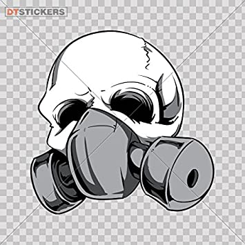 Decal Stickers Skull Skulls Gas Mask Motorbike Boat 4 X In Fully