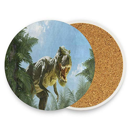 - LoveBea Dinosaur Jungle Forest Coasters, Protect Your Furniture from Stains,Coffee, Wood Coasters Funny Housewarming Gift,Round Cup Mat Pad for Home, Kitchen Or Bar Set of 4