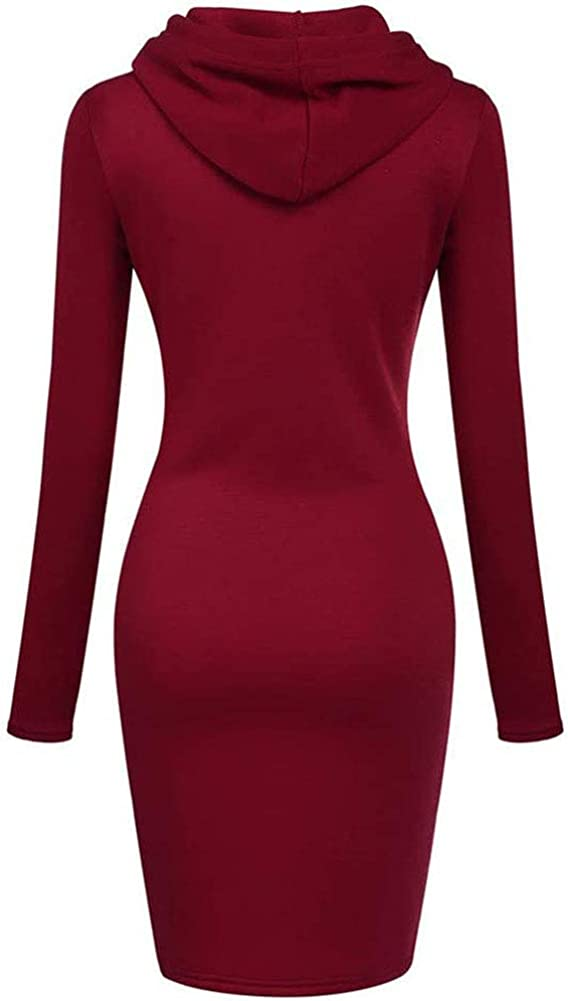Eworldwing Womens Casual Tunic Fleece Dress Hoodies Long Sleeve Winter Kangaroo Pockets Sweater