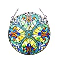 """LIAISON"" Tiffany-glass Victorian Window Panel 20"""