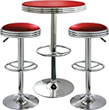 (3 Piece Set) AmeriHome Retro Red Soda Shop Bistro Set