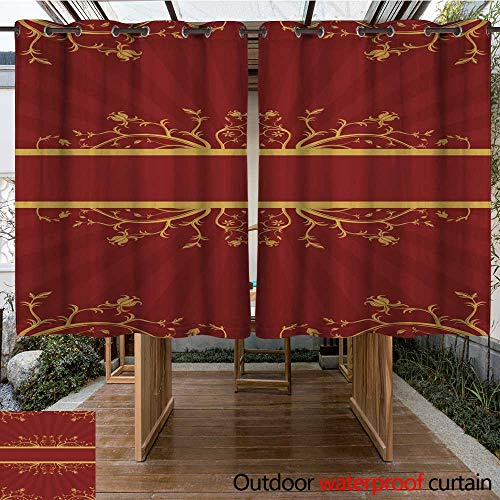 (RenteriaDecor Outdoor Ultraviolet Protective Curtains red and Gold Floral Scroll W84 x L72 )