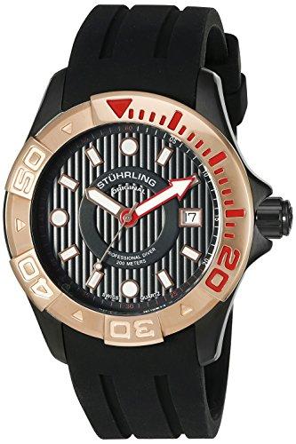 Stuhrling Original Men's 718.05 Aquadiver Regatta Manta Ray Swiss Quartz Date Professional Diver Rose Tone Bezel Rubber Strap Watch