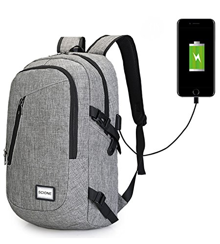 Waterproof Computer Laptop Backpack Outdoor Travel Backpacks with USB Charging Port High School Bag Adult Campus Student Bags Business Slim Tech Canvas Backpack Stylish Daypack SCIONE