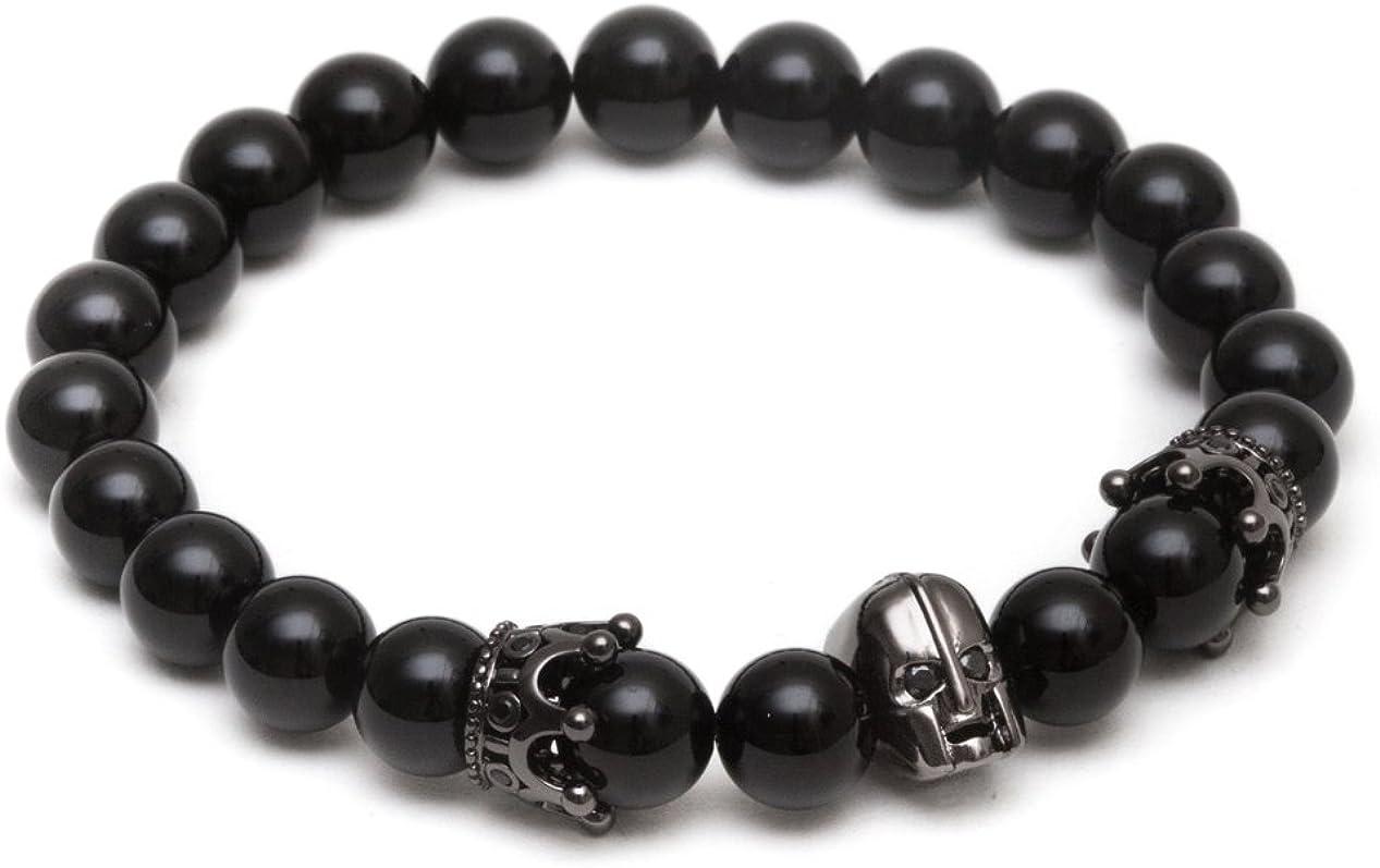 ZENGER Jewelry Spartan Helmet Beaded Bracelet - 8mm Matte Black Onyx, Elastic, Stretch