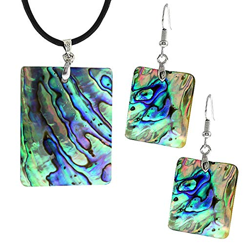 - Gem Stone King Abalone Shell Inlay Pendant Earrings Set W-Chain