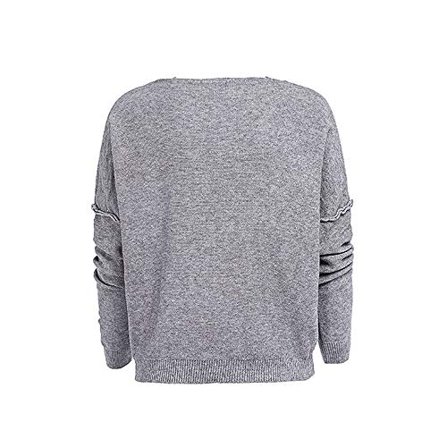 Jumper Cher Causal A Laides Col Manche Pull Shirt Sexy Pas Blouse Longues Mode Gris Femme Uni V Amples La T Tops xw4xnCgZq