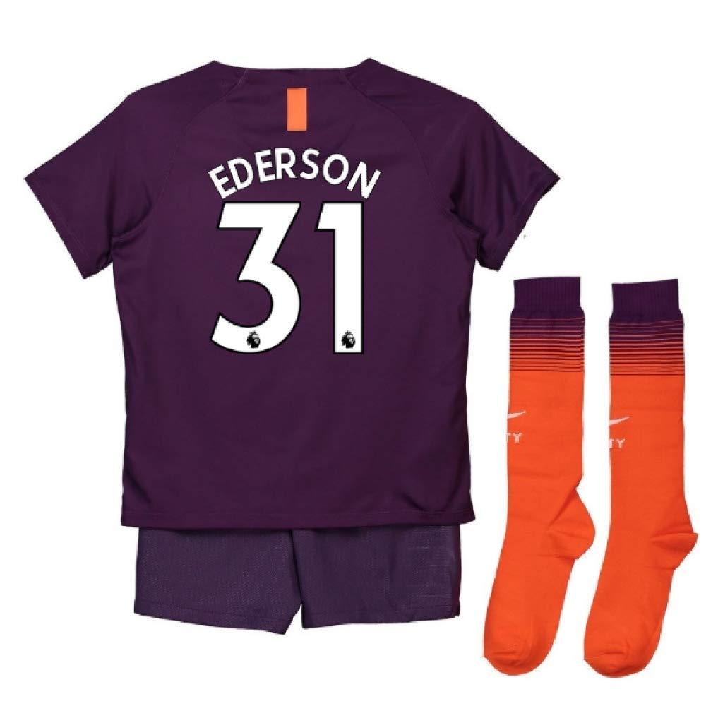 UKSoccershop 2018-2019 Man City Third Nike Little Boys Mini Kit (Ederson 31)