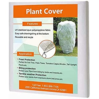 Agfabric Plant Cover Square Warm Worth Frost Blanket - 120''Hx120''W Shrub Jacket, Rectangle Plant Cover for Season Extension&Frost Protection