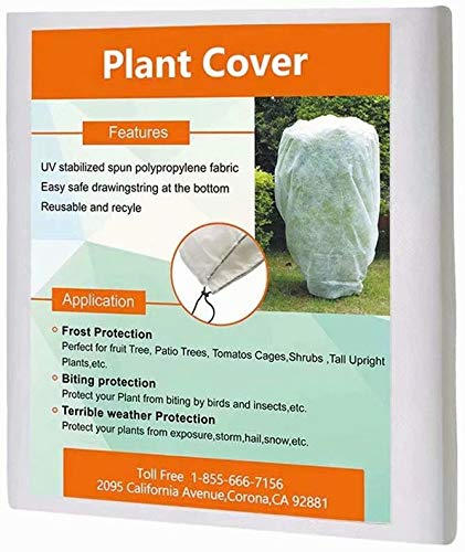 Agfabric Plant Cover Square Warm Worth Frost Blanket – 1.5 oz Fabric of 120 Hx120 W Shrub Jacket, Rectangle Plant Cover for Season Extension Frost Protection