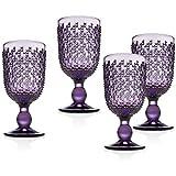 Wine Goblet Beverage Glass Cup Alba by Godinger - Amethyst - Set of 4
