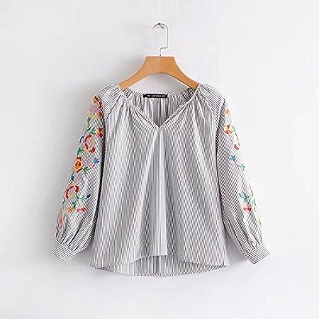 lixus Camisa Femenina Chaqueta de Mangas a Rayas Camisa ...